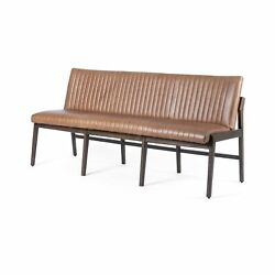 70 W Battista Dining Entryway Bench Vintage Brown Top Grain Leather Brown Beech