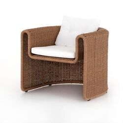 32 H Maria Brown Woven Wicker Outdoor Chair One Piece Curved Fluid Open Rustic