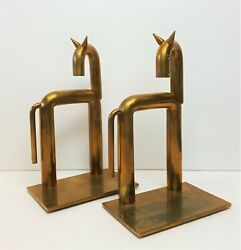Walter Von Nessen Horse Bookends For Chase Copper And Brass Art Deco 1930s Vintage