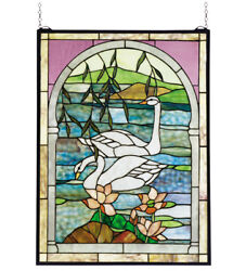 Collectible Nesting Swans Stained And Leaded Glass Window, Very Nice