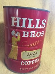 Early Vintage Hills Brothers Coffee Tin 2 Lbs Red Advertising Neat Font No Lid