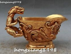 China Ancient 100 Gold Gilt Dragon Loong Dragons Pixiu Beast Cup Cups Statue