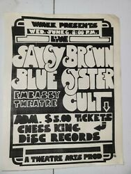 Rare 1973 Embassy Theater Ft Wayne Indiana Blue Oyster Cult Flyer Savoy Brown