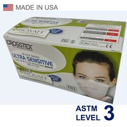 Crosstex Medical Surgical Ear-loop Face Masks Astm Level 3 Made In Usa 50pcs