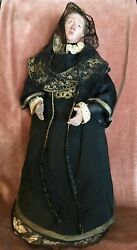 Antique Our Lady Of Sorrows Madonna Santos Statue Spanish Creche Wood Glass Eyes