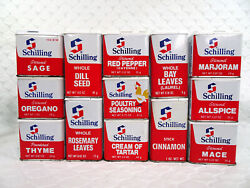 13 Very Clean Vintage Schilling Spice Tins Mccormick Poultry Seasoning Chicken
