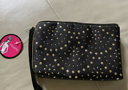 New With Tags Modella Womens Make UP Cosmetic Wristlet Bag Black And Gold $6.99