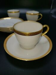 Antique 1903 Theodore Haviland China White Gold 4 Cups And Saucers Limoges France