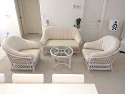 Quality Bamboo/cane Love Seat 2 Armchairs In Sunbrella Fabric With Round Table
