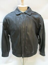 Luis Alvear Traditional Leather Wear Jacket Menand039s Large Black Bomber