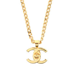 Coco Logos Turn Lock Long Necklace Gold 96a Accessory Vintage 90124805