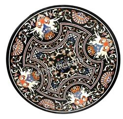 48 Inches Marble Inlay Patio Table Top Ancient Art Dining Table With Gemstones