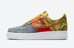 Nike Air Force 1 And03907 Lv8 Shoes Tie Dye Dark Sulfur Canvas Cz0337-700 Mens New