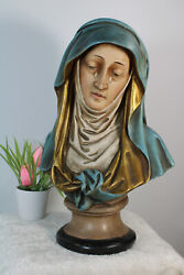 Antique French Chalkware Polychrome Bust Statue Madonna Mary Rare Religious