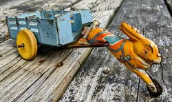 Antique Pre-war Running Rabbit W/wagon Pressed Steel And Tin Pull Toy 100orig