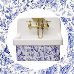 Artist Series Small Wall Mount High Back Bath Sink Antique Blue And White Floral