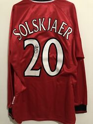 Manchester United Home Treble Ucl 1999/00 2 Solskjaer Long Sleeves Bnwt Size M