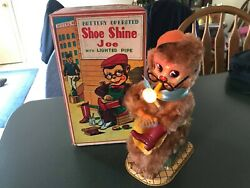 Vintage Shoe Shine Joe With Lighted Pipe Battery Op Toy W/ Box