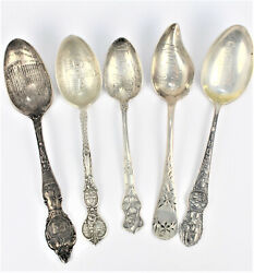 Antique And Vintage Sterling Silver American Souvenir Spoons 5