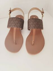 New Women Thong Slide Sandals Signature Brown Size 10m