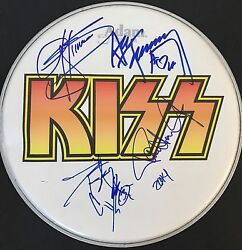 Kiss Signed Drum Paul Stanley Ace Frehley Peter Criss Gene Simmons Autographed