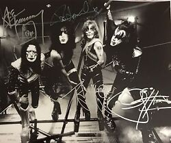 Kiss Signed Photo Gene Simmons Paul Stanley Autographed Ace Frehley Criss -proof