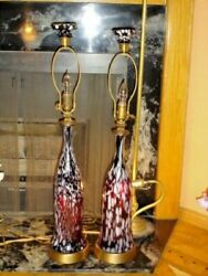 Blenko Or Murano Spatter Glass Lilac-white Lamps W/huge Glass Finials 1-2