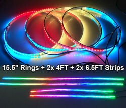 4rings 15.5and039and039 Color Chasing Wheel Lights + 4pcs Led Lights Strips Underglow Kit