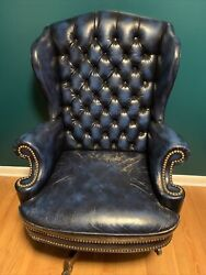 Blue Tufted Leather Nailhead Trim Swivel Office Executive Rolling Desk Chair