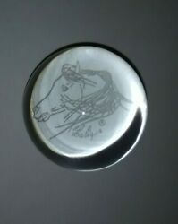 Lalique Glass Paperweight With Horse Head Signed Equestrian