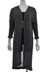 Dolan Womens Sweater Size S Navy Blue Tweed Cardigan 3/4 Sleeve Cotton Casual