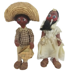 Ethnic Cultural Caribbean Couple Cloth Collector Dolls Vintage Hand Painted Toys