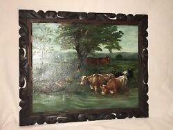 Antique Oil Painting Ee Rogers 1890s Cows Cattle Framed