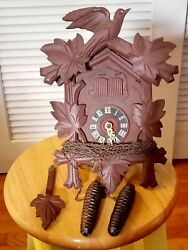 Vintage German Black Forest Wood Cuckoo Clock Non-working For Repair Or Parts