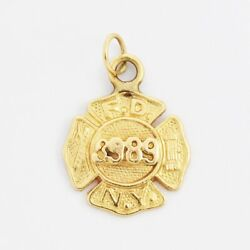 14k Yellow Gold Estate Textured Ny Fire Dept. Charm/pendant