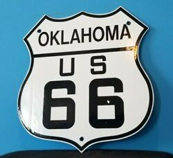 Vintage Route 66 Porcelain Gas Auto Highway Oklahoma Road Shield Sign
