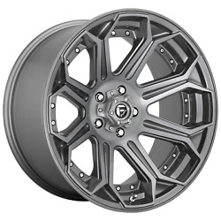 24 Inch 5x5 4 Wheels Rims 24x12 -44mm Brushed Gun Metal Tinted Clear Fuel 1pc