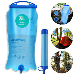 Portable Gravity Survival Water Filter Purifier Drinking Filtration Camping Gear