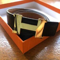Hermes Belt H Gold Buckle Black Brown Leather Reversible Size 75 Authentic