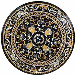54 Inches Marble Floor Center Piece Royal Look Stone Dining Table With Gemstones