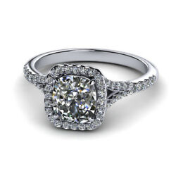 14k Solid White Gold 0.90 Ct Cushion Cut Real Diamond Wedding Ring Size 5 6 7 8