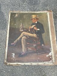 Antique Portrait Of Man In Chair With Beer Stein Oil On Canvas Signed Emile