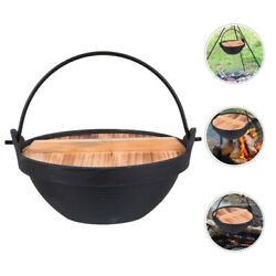 1 Set Of Pot With Lid Cast Iron Pot Hanging Cookware For Camping Outdoor