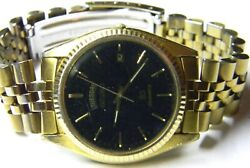 Mens Seiko President Calendar Day Date Gold Plated Black Face Dress Watch Parts