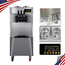 20l/h Automatic Electric Commercial 3 Flavors Soft Ice Cream Cone Maker Machine