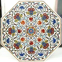 42 Inches Marble Dining Table Top Animals Design Inlaid Round Stone Patio Table
