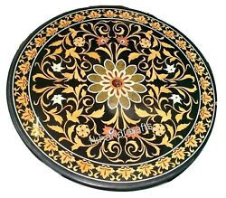 48 Inches Yellow Stone Floral Work Round Table Top Marble Dining Table For Home