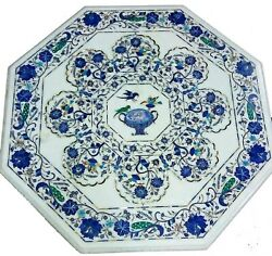 42 Inches Marble Dining Table Top Inlay Patio Table With Lapis Lazuli Stone Work