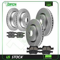 Front And Rear Ceramic Brake Pads With Rotors For 2013-2015 Jeep Grand Cherokee