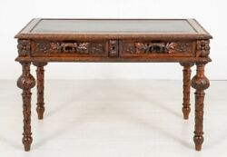 Carved Victorian Desk Oak Writing Table 1880